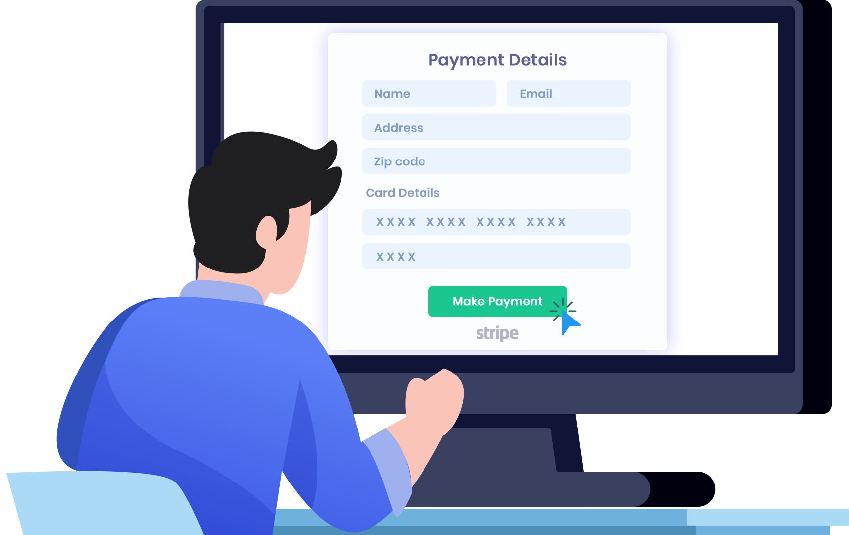 Payment details entered once during Checkout